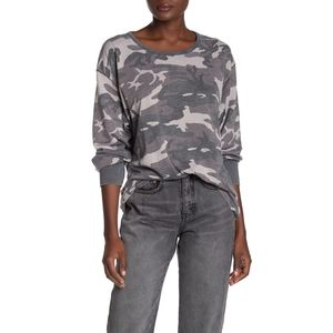 🆕FREE PEOPLE Camo High Low Cotton Blend Sw